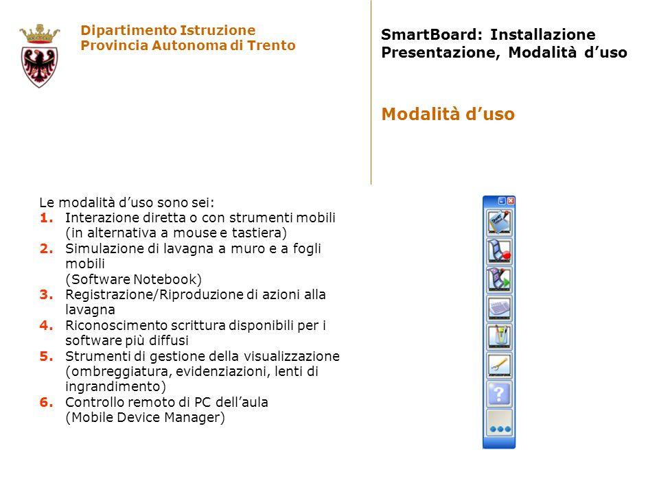 Dipartimento Istruzione Provincia Autonoma di Trento SmartBoard: Installazione Presentazione, Modalità duso Le modalità duso sono sei: 1. Interazione