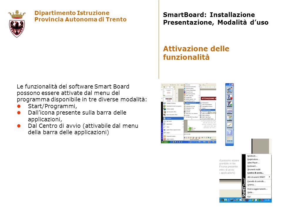 Dipartimento Istruzione Provincia Autonoma di Trento SmartBoard: Installazione Presentazione, Modalità duso Le funzionalità del software Smart Board p