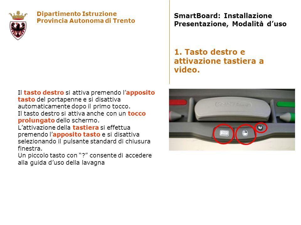 Dipartimento Istruzione Provincia Autonoma di Trento SmartBoard: Installazione Presentazione, Modalità duso Il tasto destro si attiva premendo lapposi