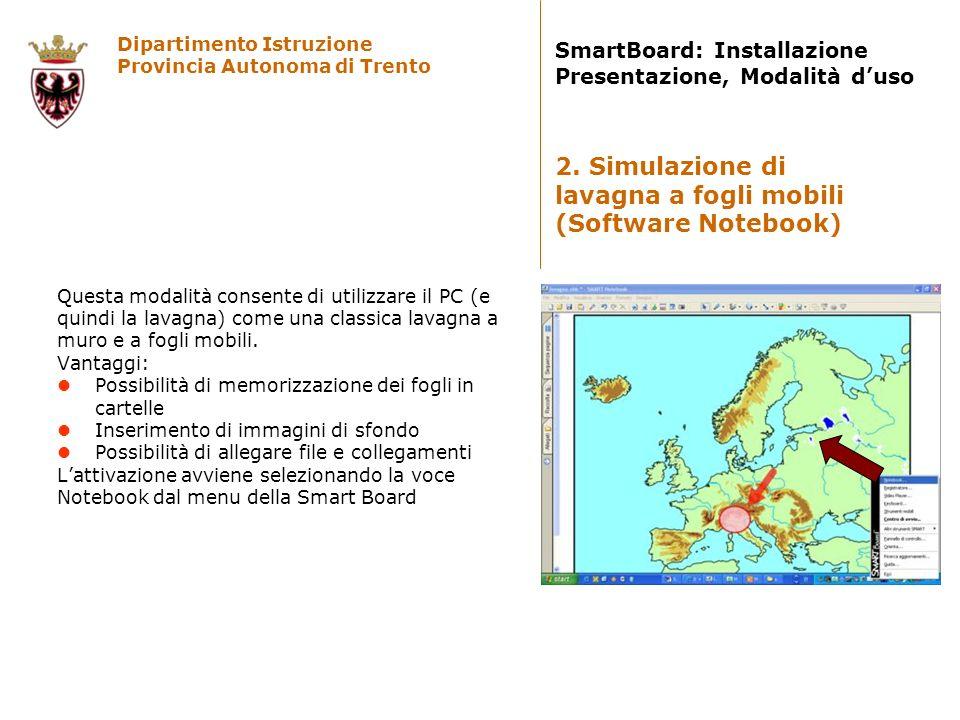 Dipartimento Istruzione Provincia Autonoma di Trento SmartBoard: Installazione Presentazione, Modalità duso E possibile visualizzare sulla lavagna lo schermo di PC presenti nellaula o connessi comunque in rete locale.