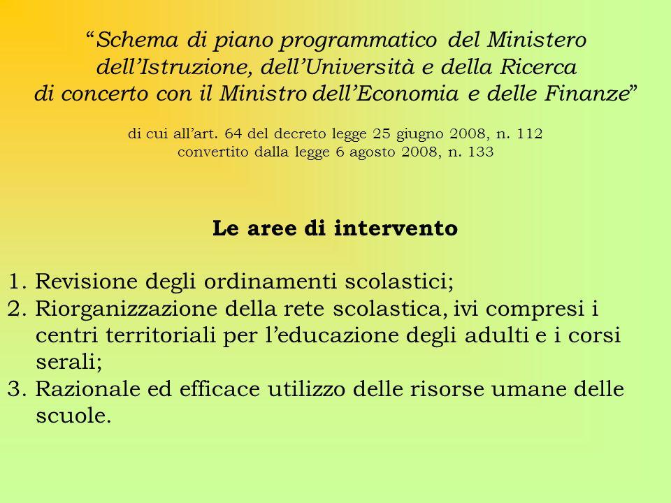 Schema di piano programmatico del Ministero dellIstruzione, dellUniversità e della Ricerca di concerto con il Ministro dellEconomia e delle Finanze di cui allart.