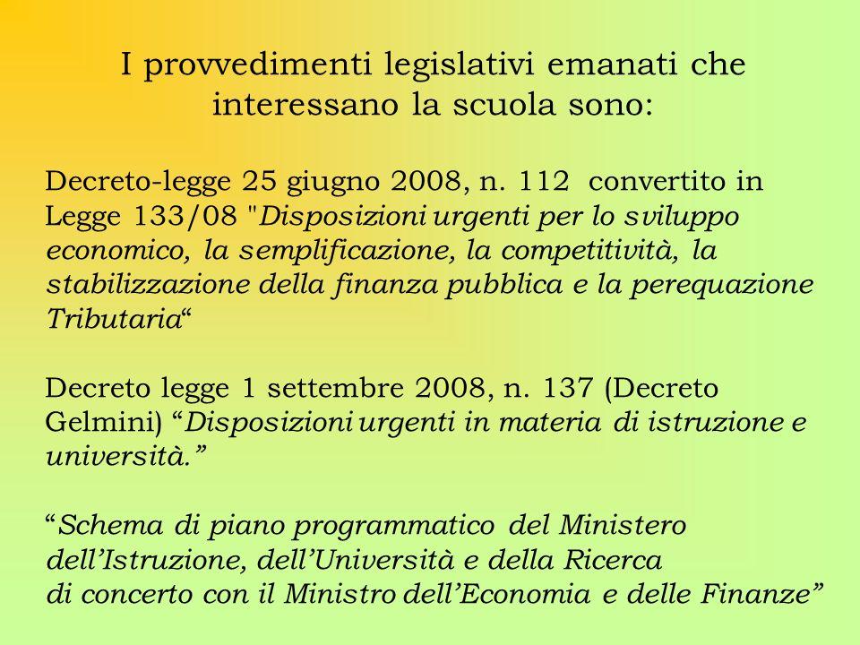I provvedimenti legislativi emanati che interessano la scuola sono: Decreto-legge 25 giugno 2008, n. 112 convertito in Legge 133/08
