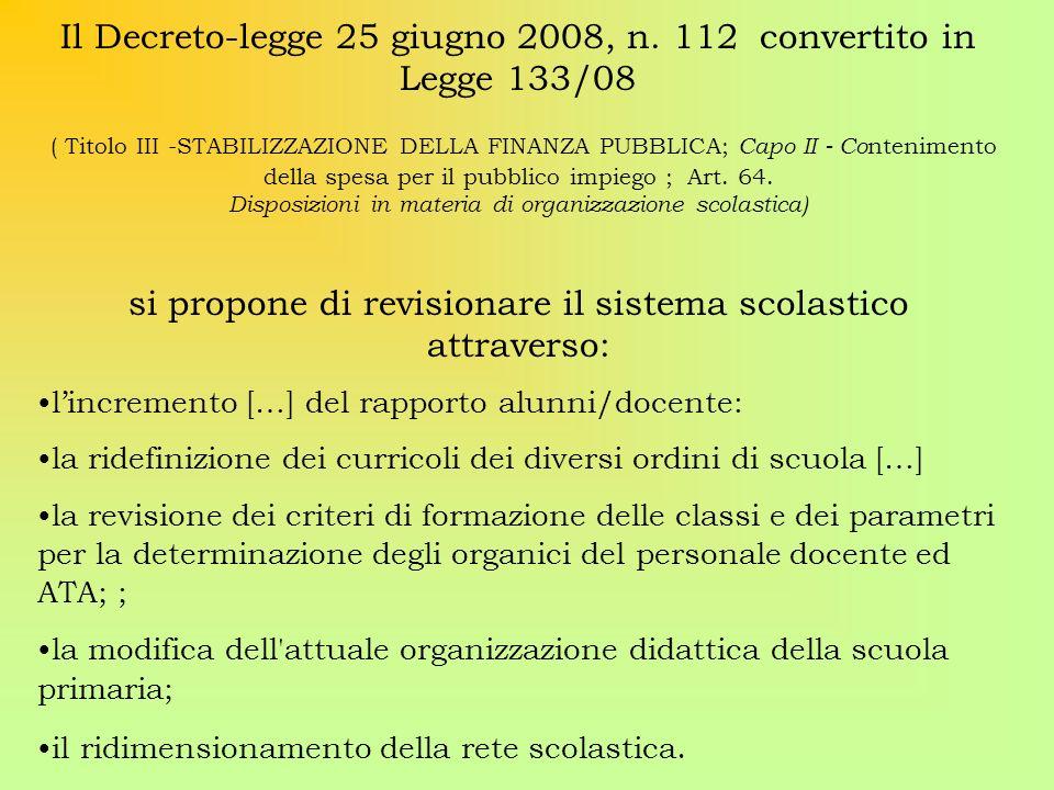 Il Decreto-legge 25 giugno 2008, n. 112 convertito in Legge 133/08 ( Titolo III -STABILIZZAZIONE DELLA FINANZA PUBBLICA; Capo II - Co ntenimento della
