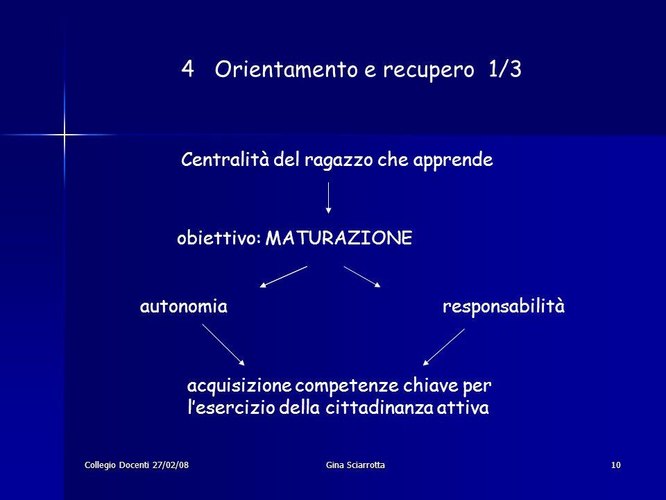 Collegio Docenti 27/02/08Gina Sciarrotta10 4 Orientamento e recupero 1/3 Centralità del ragazzo che apprende obiettivo: MATURAZIONE autonomia responsa