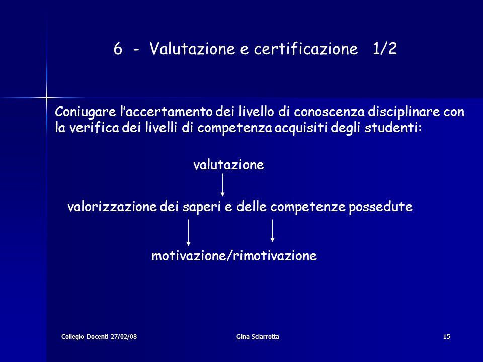 Collegio Docenti 27/02/08Gina Sciarrotta15 6 - Valutazione e certificazione 1/2 Coniugare laccertamento dei livello di conoscenza disciplinare con la