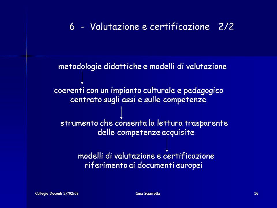 Collegio Docenti 27/02/08Gina Sciarrotta16 6 - Valutazione e certificazione 2/2 metodologie didattiche e modelli di valutazione coerenti con un impian