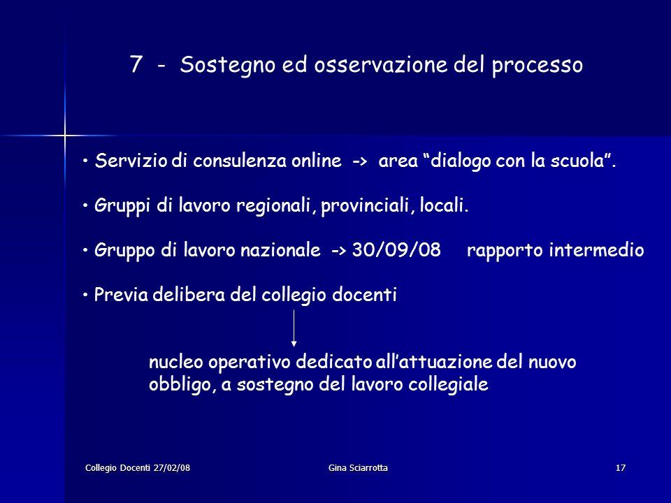 Collegio Docenti 27/02/08Gina Sciarrotta17 7 - Sostegno ed osservazione del processo Servizio di consulenza online -> area dialogo con la scuola.