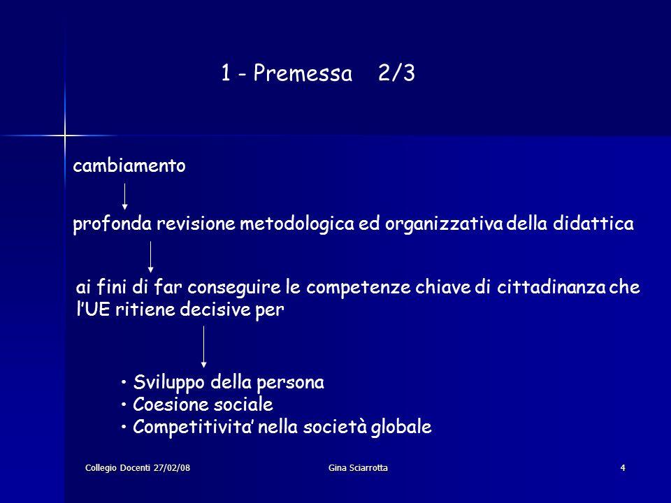 Collegio Docenti 27/02/08Gina Sciarrotta5 1 – Premessa 3/3 Le linee guida si configurano come contributo per il conseguimento dei seguenti obiettivi: acquisizione delle competenze descritte nel documento tecnico autonomia progettuale delle ist.