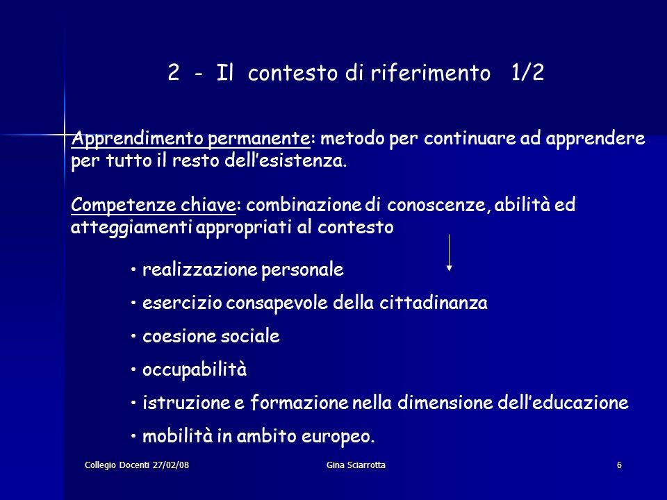 Collegio Docenti 27/02/08Gina Sciarrotta6 2 - Il contesto di riferimento 1/2 Apprendimento permanente: metodo per continuare ad apprendere per tutto i