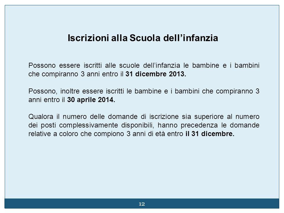 12 Possono essere iscritti alle scuole dellinfanzia le bambine e i bambini che compiranno 3 anni entro il 31 dicembre 2013.
