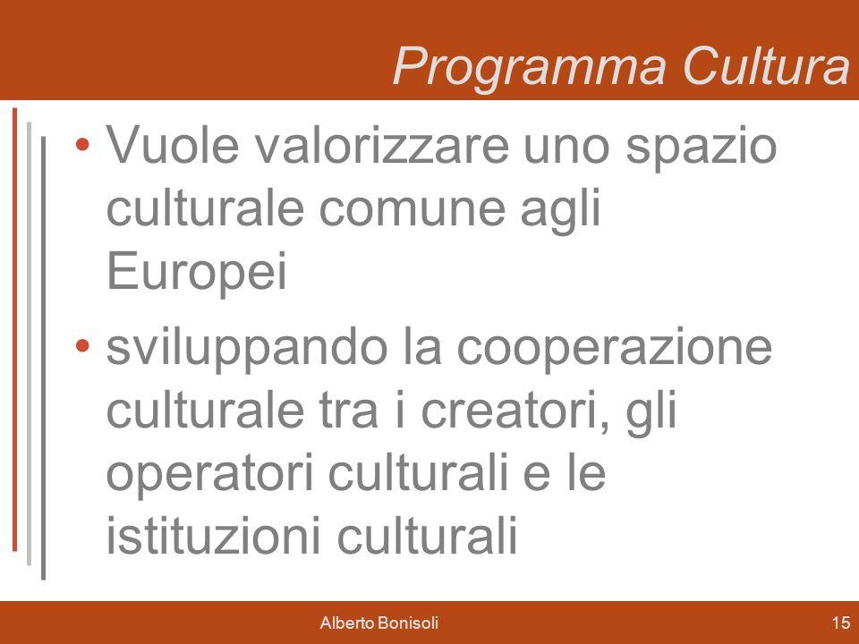 Alberto Bonisoli15 Programma Cultura Vuole valorizzare uno spazio culturale comune agli Europei sviluppando la cooperazione culturale tra i creatori, gli operatori culturali e le istituzioni culturali
