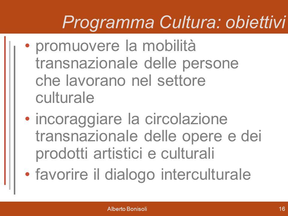 Alberto Bonisoli16 Programma Cultura: obiettivi promuovere la mobilità transnazionale delle persone che lavorano nel settore culturale incoraggiare la circolazione transnazionale delle opere e dei prodotti artistici e culturali favorire il dialogo interculturale