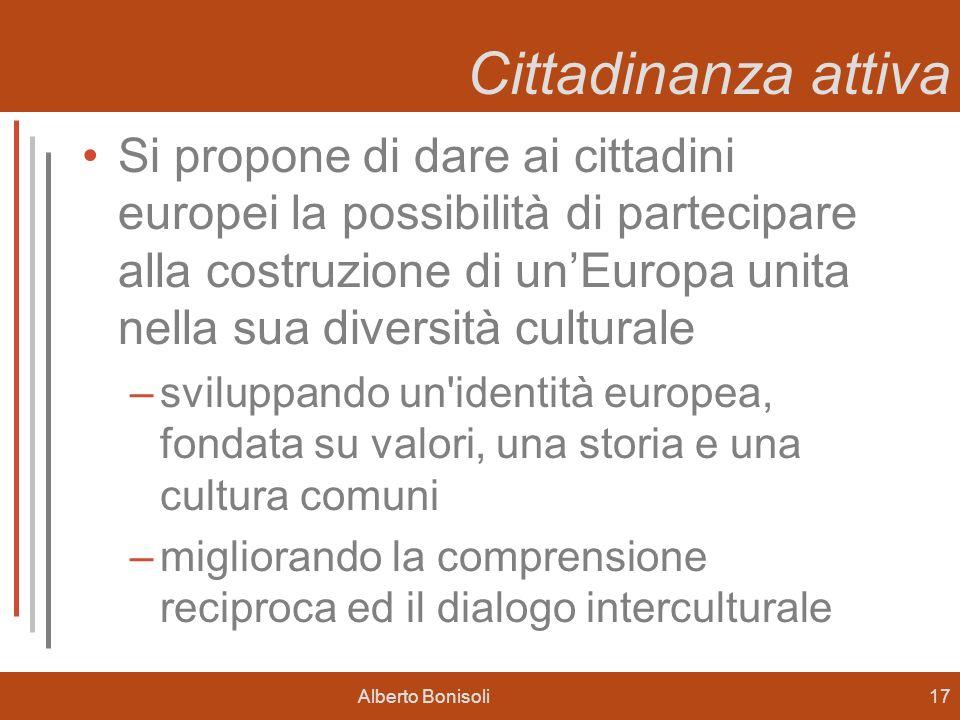 Alberto Bonisoli17 Cittadinanza attiva Si propone di dare ai cittadini europei la possibilità di partecipare alla costruzione di unEuropa unita nella sua diversità culturale –sviluppando un identità europea, fondata su valori, una storia e una cultura comuni –migliorando la comprensione reciproca ed il dialogo interculturale