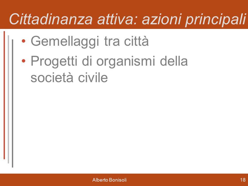 Alberto Bonisoli18 Cittadinanza attiva: azioni principali Gemellaggi tra città Progetti di organismi della società civile