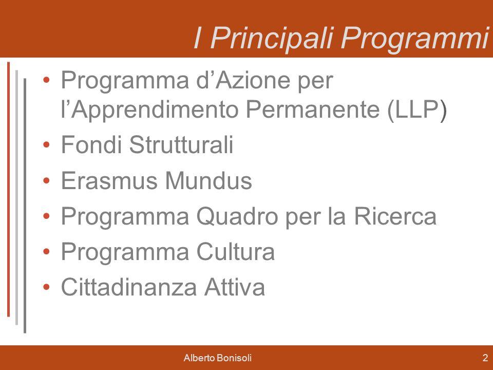 Alberto Bonisoli2 I Principali Programmi Programma dAzione per lApprendimento Permanente (LLP) Fondi Strutturali Erasmus Mundus Programma Quadro per la Ricerca Programma Cultura Cittadinanza Attiva