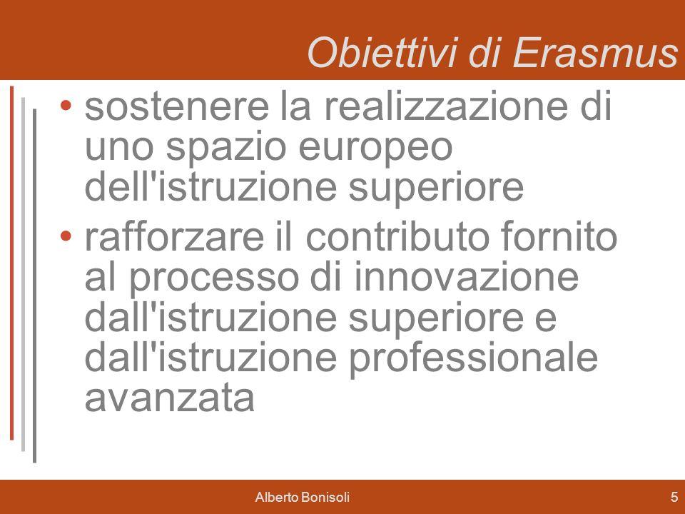Alberto Bonisoli5 Obiettivi di Erasmus sostenere la realizzazione di uno spazio europeo dell istruzione superiore rafforzare il contributo fornito al processo di innovazione dall istruzione superiore e dall istruzione professionale avanzata