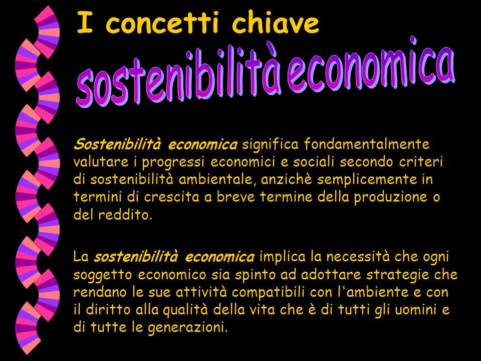 I concetti chiave Sostenibilità economica significa fondamentalmente valutare i progressi economici e sociali secondo criteri di sostenibilità ambientale, anzichè semplicemente in termini di crescita a breve termine della produzione o del reddito.