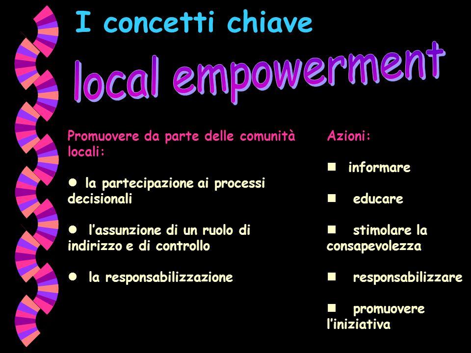 I concetti chiave Promuovere da parte delle comunità locali: la partecipazione ai processi decisionali lassunzione di un ruolo di indirizzo e di contr