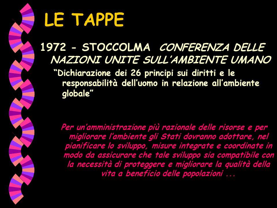 LE TAPPE 1972 - STOCCOLMA CONFERENZA DELLE NAZIONI UNITE SULLAMBIENTE UMANO Dichiarazione dei 26 principi sui diritti e le responsabilità delluomo in