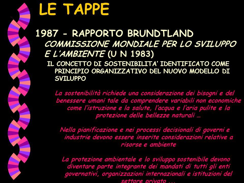 LE TAPPE 1987 - RAPPORTO BRUNDTLAND COMMISSIONE MONDIALE PER LO SVILUPPO E LAMBIENTE (U N 1983) IL CONCETTO DI SOSTENIBILITA IDENTIFICATO COME PRINCIP