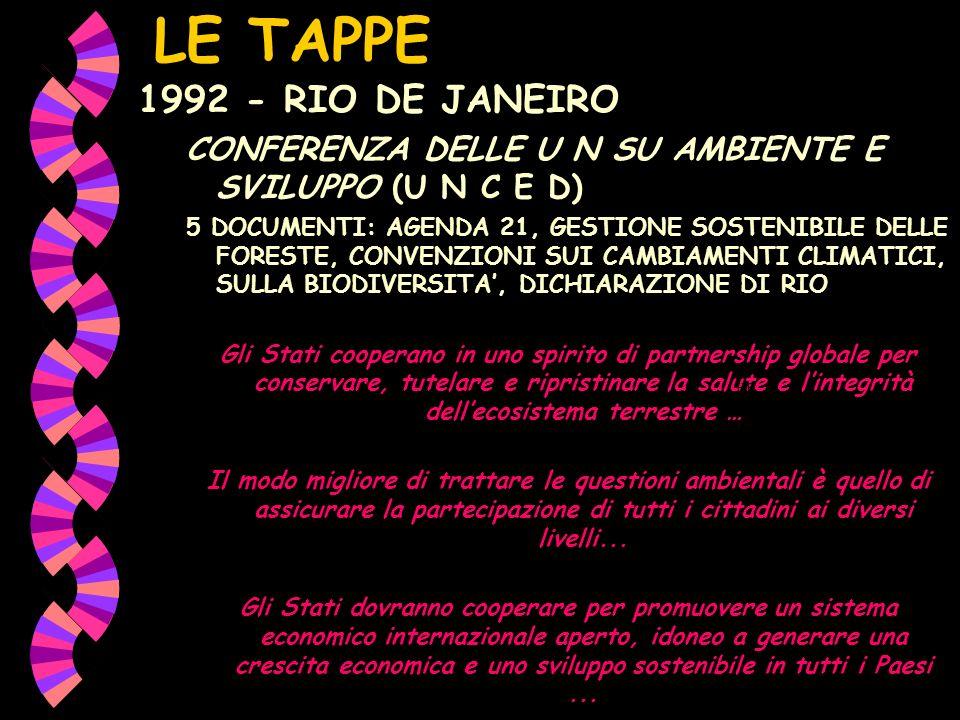 LE TAPPE 1992 - RIO DE JANEIRO CONFERENZA DELLE U N SU AMBIENTE E SVILUPPO (U N C E D) 5 DOCUMENTI: AGENDA 21, GESTIONE SOSTENIBILE DELLE FORESTE, CON
