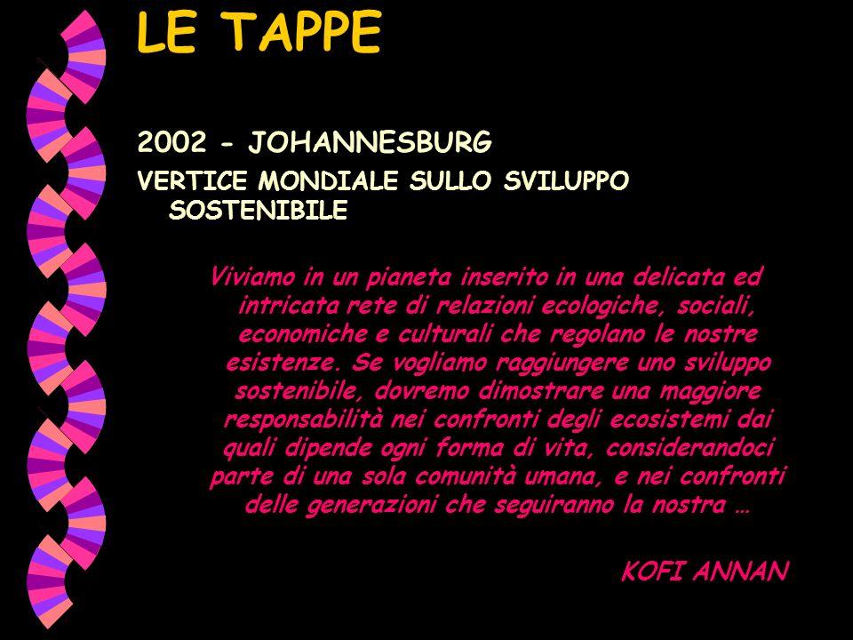 LE TAPPE 2002 - JOHANNESBURG VERTICE MONDIALE SULLO SVILUPPO SOSTENIBILE Viviamo in un pianeta inserito in una delicata ed intricata rete di relazioni ecologiche, sociali, economiche e culturali che regolano le nostre esistenze.