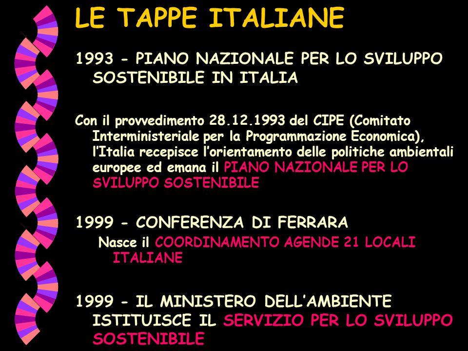 LE TAPPE ITALIANE 1993 - PIANO NAZIONALE PER LO SVILUPPO SOSTENIBILE IN ITALIA Con il provvedimento 28.12.1993 del CIPE (Comitato Interministeriale per la Programmazione Economica), lItalia recepisce lorientamento delle politiche ambientali europee ed emana il PIANO NAZIONALE PER LO SVILUPPO SOSTENIBILE 1999 - CONFERENZA DI FERRARA Nasce il COORDINAMENTO AGENDE 21 LOCALI ITALIANE 1999 - IL MINISTERO DELLAMBIENTE ISTITUISCE IL SERVIZIO PER LO SVILUPPO SOSTENIBILE
