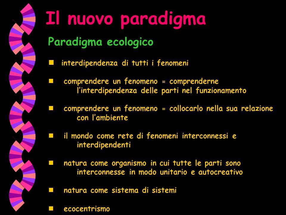 Il nuovo paradigma Paradigma ecologico interdipendenza di tutti i fenomeni comprendere un fenomeno = comprenderne linterdipendenza delle parti nel fun