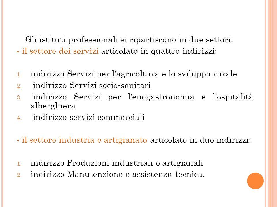 Gli istituti professionali si ripartiscono in due settori: - il settore dei servizi articolato in quattro indirizzi: 1. indirizzo Servizi per l'agrico