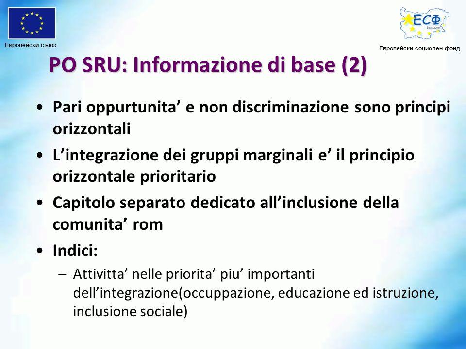 PO SRU: Informazione di base (2) Pari oppurtunita e non discriminazione sono principi orizzontali Lintegrazione dei gruppi marginali e il principio or