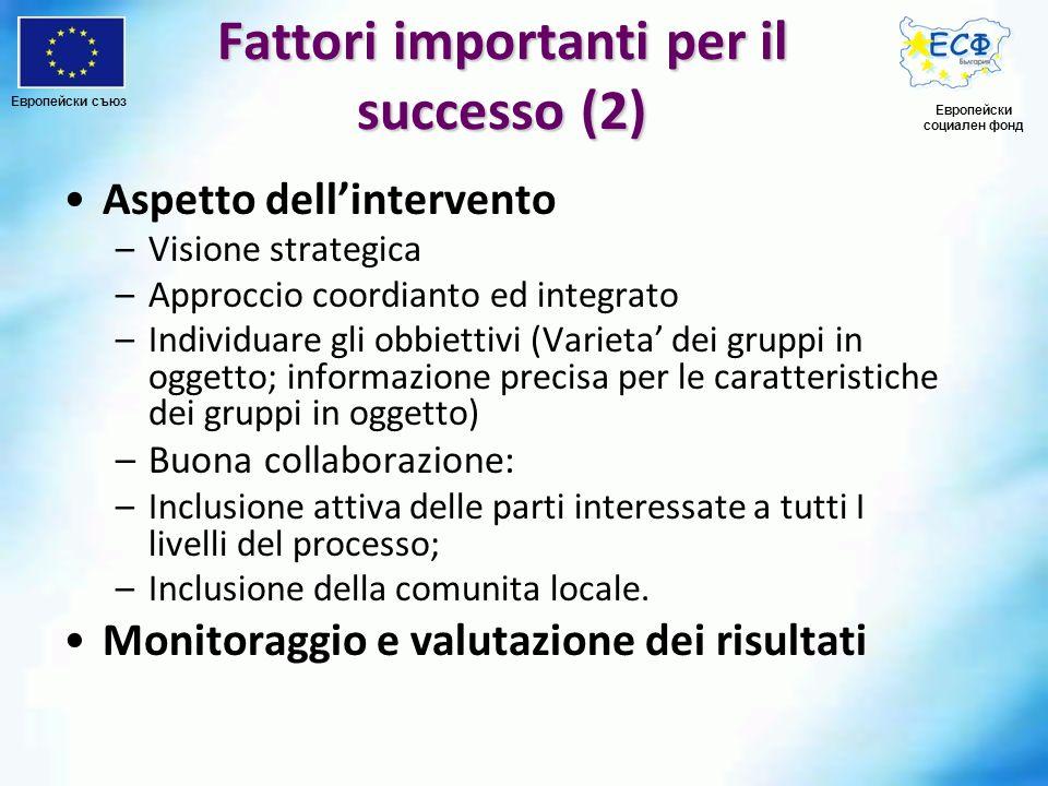 Fattori importanti per il successo (2) Aspetto dellintervento –Visione strategica –Approccio coordianto ed integrato –Individuare gli obbiettivi (Vari