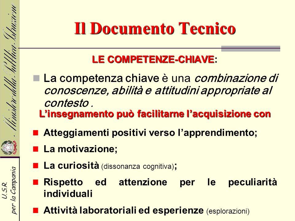 U.S.R. per la Campania Il Documento Tecnico LE COMPETENZE-CHIAVE LE COMPETENZE-CHIAVE: La competenza chiave è una combinazione di conoscenze, abilità