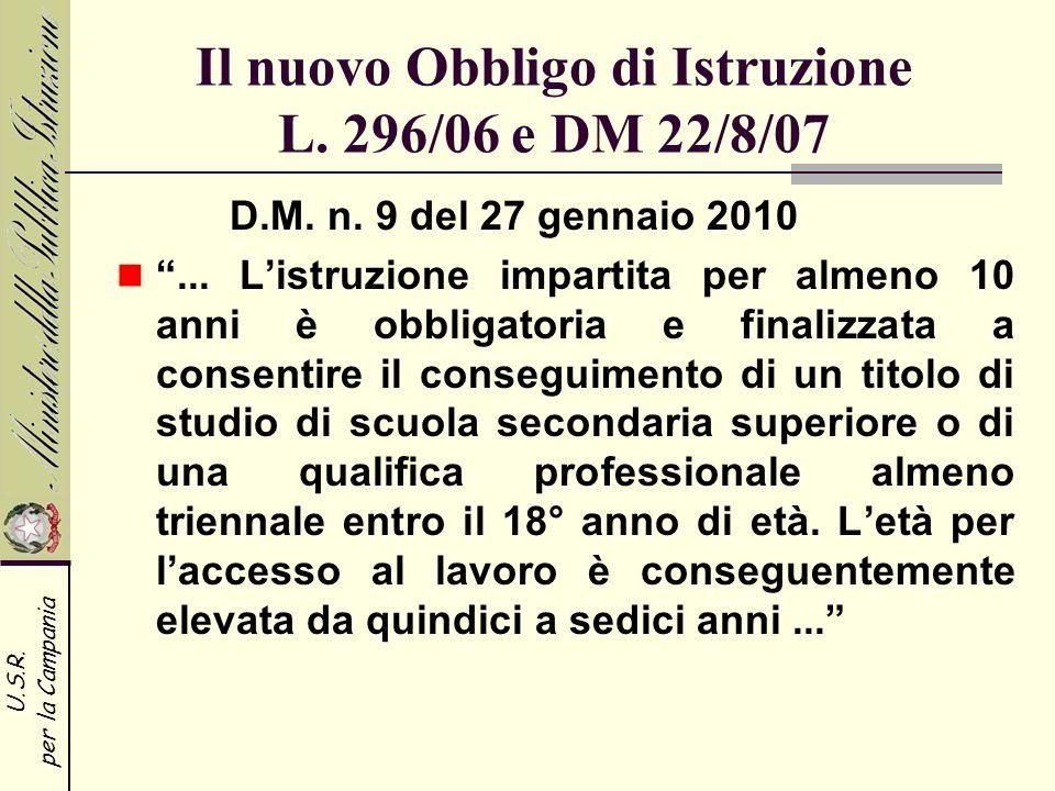 U.S.R. per la Campania Il nuovo Obbligo di Istruzione L. 296/06 e DM 22/8/07 D.M. n. 9 del 27 gennaio 2010... Listruzione impartita per almeno 10 anni