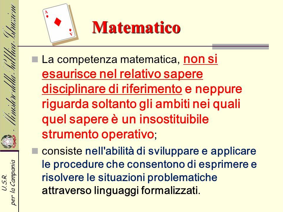 U.S.R. per la Campania Matematico Matematico La competenza matematica, non si esaurisce nel relativo sapere disciplinare di riferimento e neppure rigu