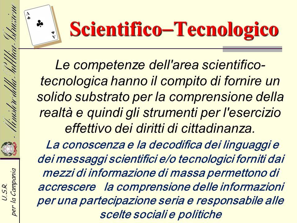 U.S.R. per la Campania Le competenze dell'area scientifico- tecnologica hanno il compito di fornire un solido substrato per la comprensione della real