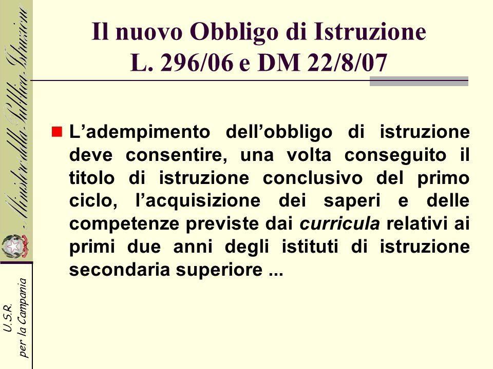 U.S.R. per la Campania Il nuovo Obbligo di Istruzione L. 296/06 e DM 22/8/07 Ladempimento dellobbligo di istruzione deve consentire, una volta consegu