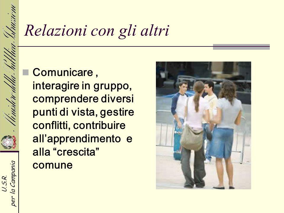 U.S.R. per la Campania Relazioni con gli altri Comunicare, interagire in gruppo, comprendere diversi punti di vista, gestire conflitti, contribuire al