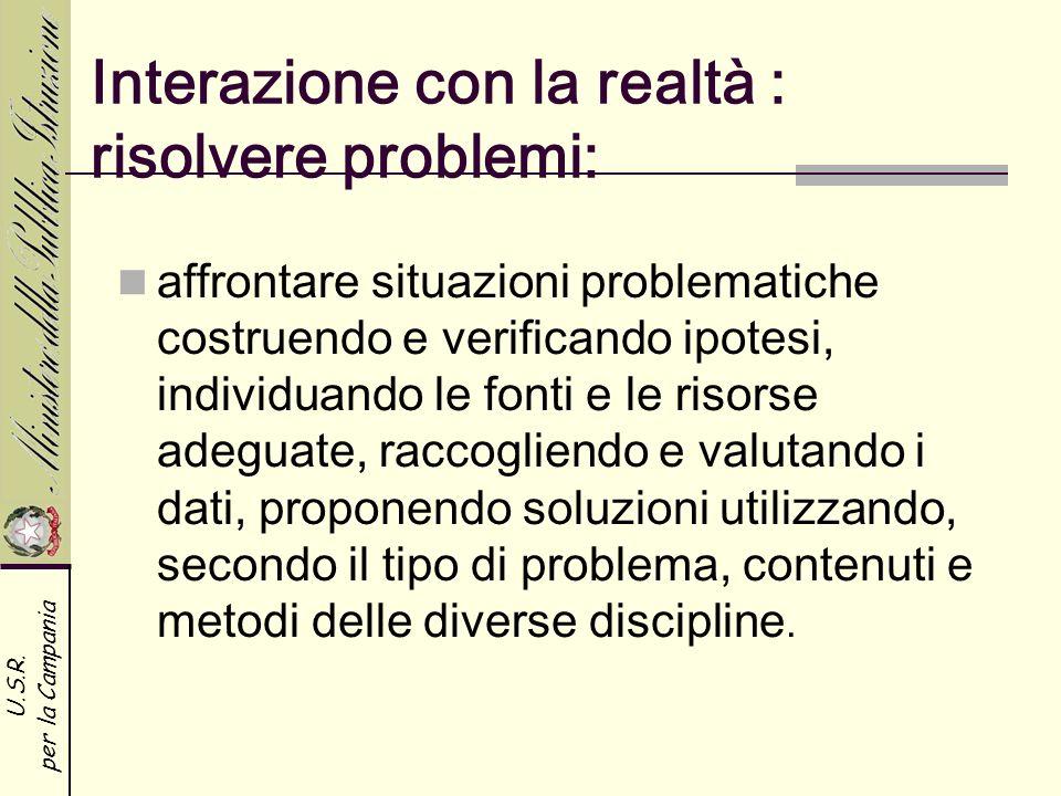 U.S.R. per la Campania Interazione con la realtà : risolvere problemi: affrontare situazioni problematiche costruendo e verificando ipotesi, individua