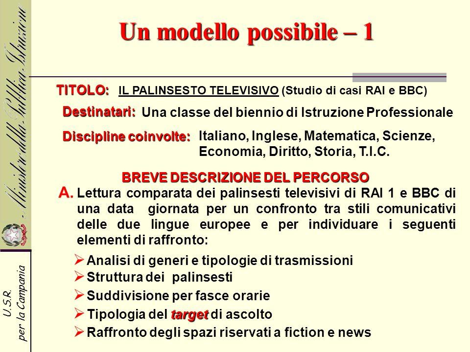 U.S.R. per la Campania Un modello possibile – 1 TITOLO: Destinatari: IL PALINSESTO TELEVISIVO (Studio di casi RAI e BBC) Discipline coinvolte: Una cla