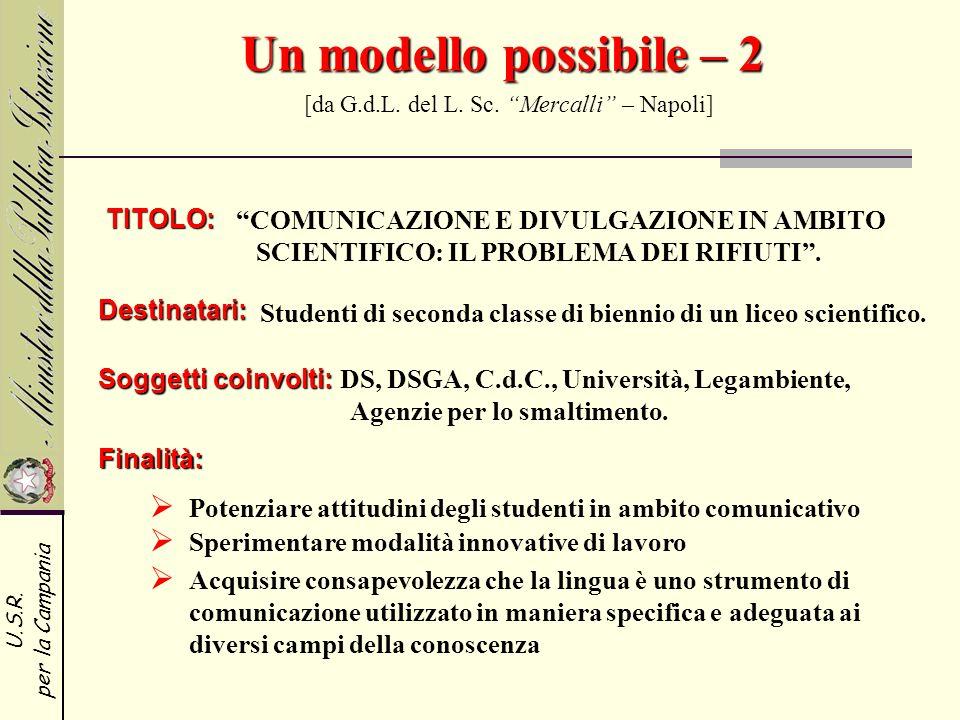 U.S.R. per la Campania Un modello possibile – 2 Un modello possibile – 2 [da G.d.L. del L. Sc. Mercalli – Napoli] TITOLO: COMUNICAZIONE E DIVULGAZIONE