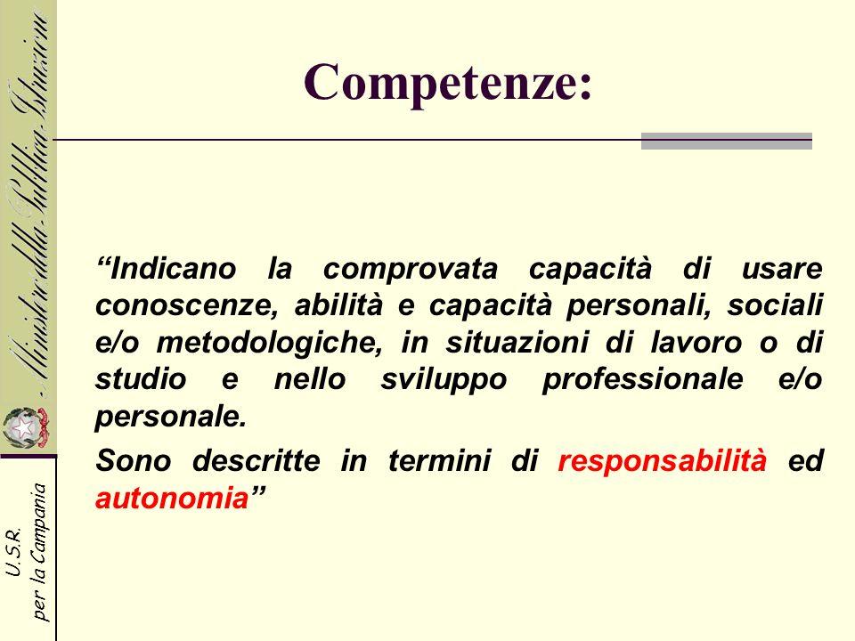 U.S.R. per la Campania Competenze: Indicano la comprovata capacità di usare conoscenze, abilità e capacità personali, sociali e/o metodologiche, in si