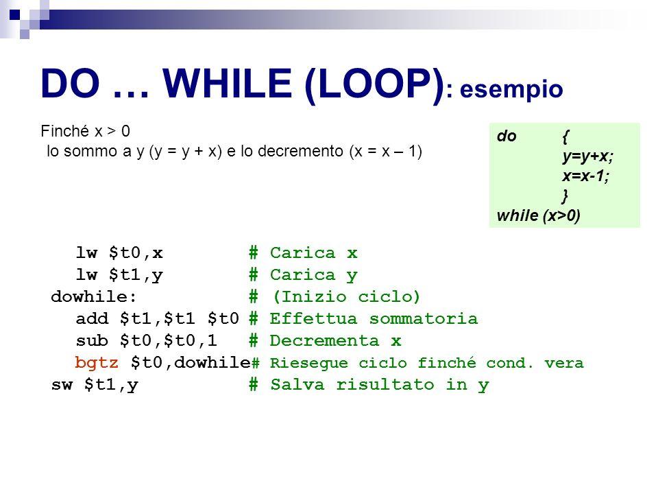 DO … WHILE (LOOP) : esempio Finché x > 0 lo sommo a y (y = y + x) e lo decremento (x = x – 1) lw $t0,x# Carica x lw $t1,y# Carica y dowhile:# (Inizio ciclo) add $t1,$t1 $t0# Effettua sommatoria sub $t0,$t0,1 # Decrementa x bgtz $t0,dowhile # Riesegue ciclo finché cond.