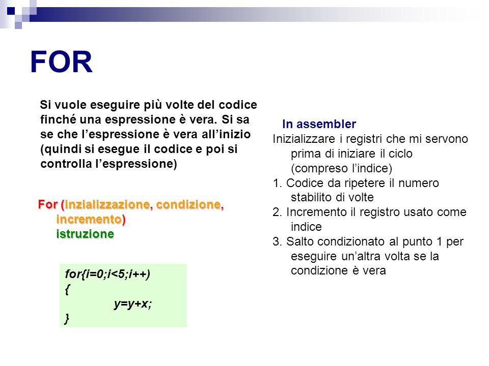 FOR Si vuole eseguire più volte del codice finché una espressione è vera.