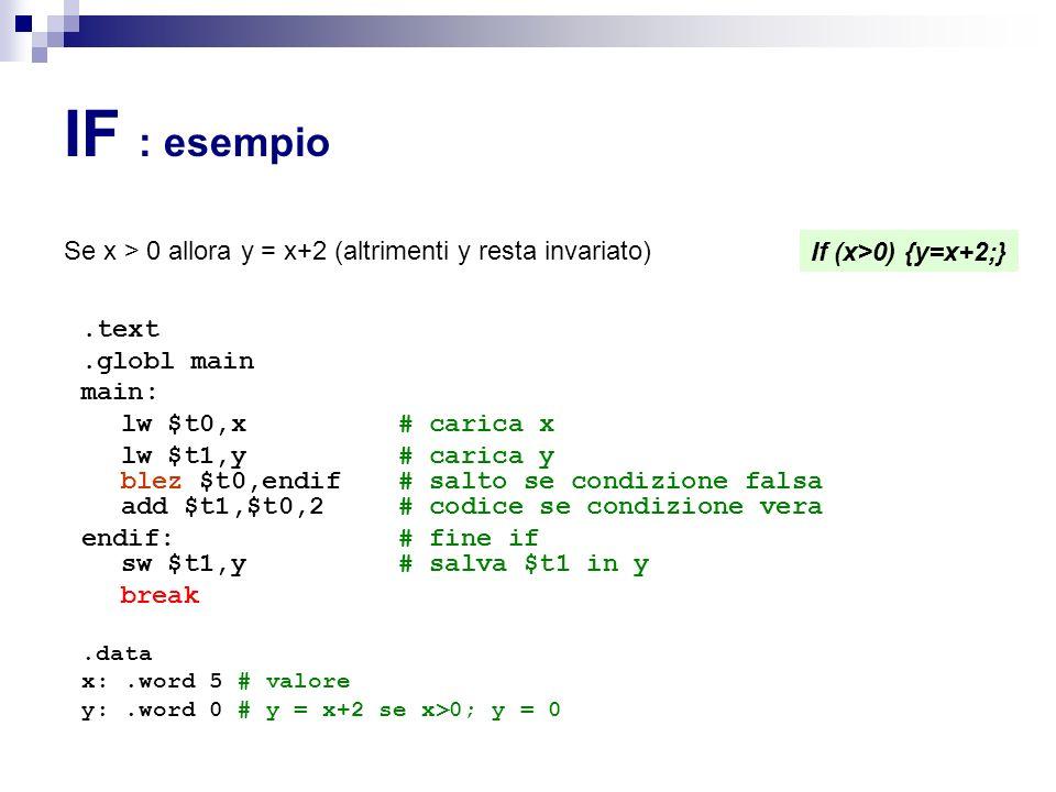 IF : esempio Se x > 0 allora y = x+2 (altrimenti y resta invariato).text.globl main main: lw $t0,x # carica x lw $t1,y # carica y blez $t0,endif # salto se condizione falsa add $t1,$t0,2 # codice se condizione vera endif: # fine if sw $t1,y # salva $t1 in y break.data x:.word 5 # valore y:.word 0 # y = x+2 se x>0; y = 0 If (x>0) {y=x+2;}