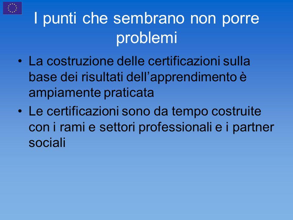 I punti che sembrano non porre problemi La costruzione delle certificazioni sulla base dei risultati dellapprendimento è ampiamente praticata Le certificazioni sono da tempo costruite con i rami e settori professionali e i partner sociali