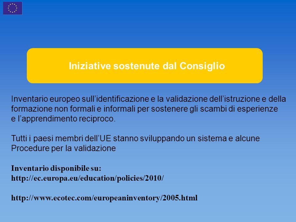 Initiatives soutenues par le Conseil Inventario europeo sullidentificazione e la validazione dellistruzione e della formazione non formali e informali per sostenere gli scambi di esperienze e lapprendimento reciproco.
