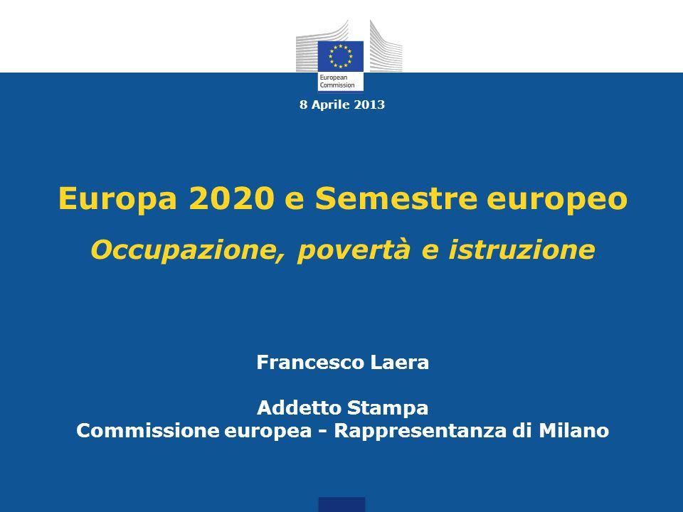 8 Aprile 2013 Europa 2020 e Semestre europeo Occupazione, povertà e istruzione Francesco Laera Addetto Stampa Commissione europea - Rappresentanza di