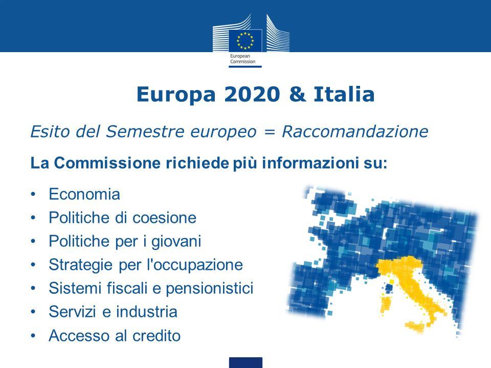Europa 2020 & Italia Esito del Semestre europeo = Raccomandazione La Commissione richiede più informazioni su: Economia Politiche di coesione Politich