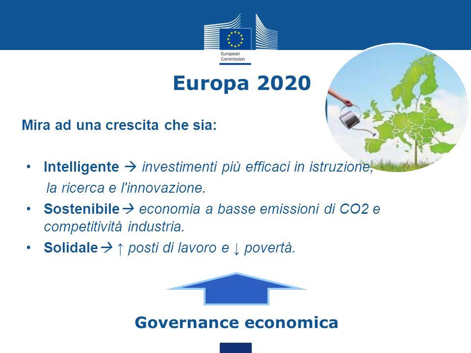 Europa 2020 Mira ad una crescita che sia: Intelligente investimenti più efficaci in istruzione, la ricerca e l'innovazione. Sostenibile economia a bas