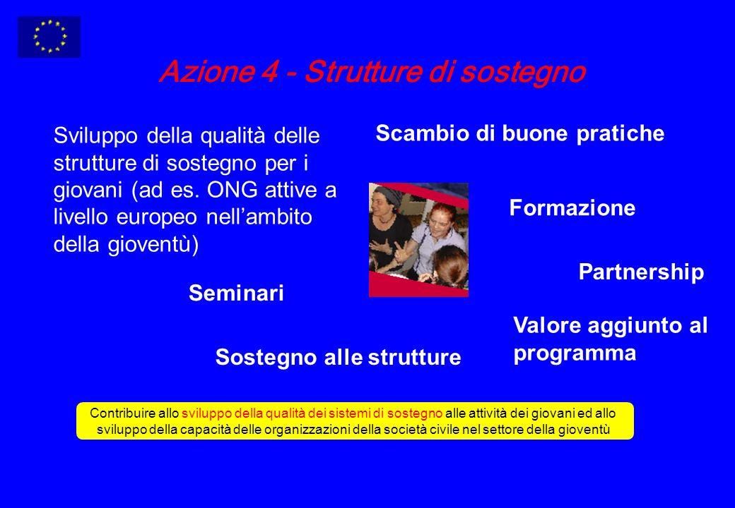 Azione 4 - Strutture di sostegno Sviluppo della qualità delle strutture di sostegno per i giovani (ad es.